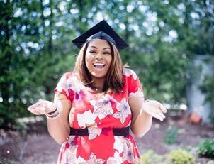 Mujer, en, un, birrete de graduación