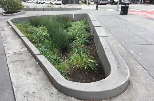 Mission at Valencia bioretention planter