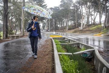mujer con paraguas caminando por el sendero