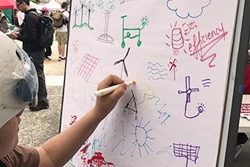 在白板上畫畫的孩子