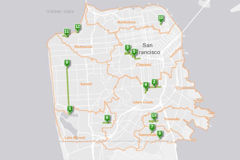 Pakikipag-ugnay sa mapa na nagpapakita ng mga lokasyon ng mga berdeng proyekto sa imprastraktura sa San Francisco